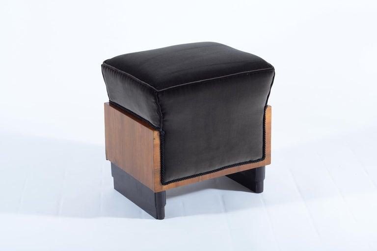 Pair of Art Deco Italian Stools Black Velvet, 1930 For Sale 3