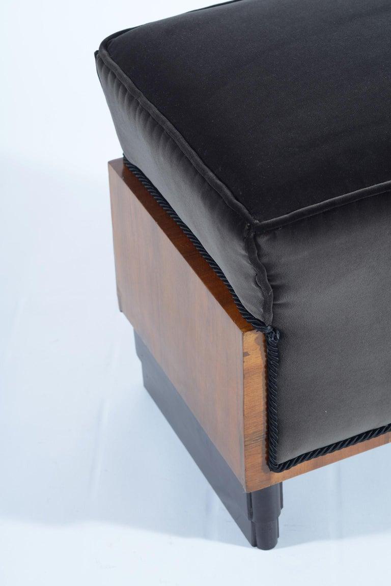 Pair of Art Deco Italian Stools Black Velvet, 1930 For Sale 4