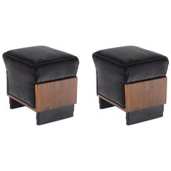 Pair of Art Deco Italian Stools Black Velvet, 1930