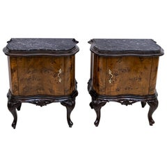 Pair of Art Deco Italian Walnut and Black Marquinia Marble Bedside Tables, 1920s