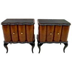 Pair of Art Deco Italian Walnut and Ebonized Wood Bedside Tables, 1920s