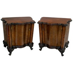 Pair of Art Deco Italian Walnut and Ebonized Wood Bedside Tables, 1920s
