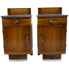 Pair of Art Dèco Italian Walnut and Grafite Gray Marble Bedside Tables, 1920s