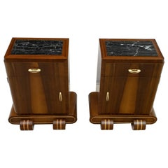 Pair of Art Deco Italian Walnut and Maple Night Stands, 1920