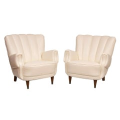 Pair of Art Deco Ivory Leather Armchairs, circa 1930