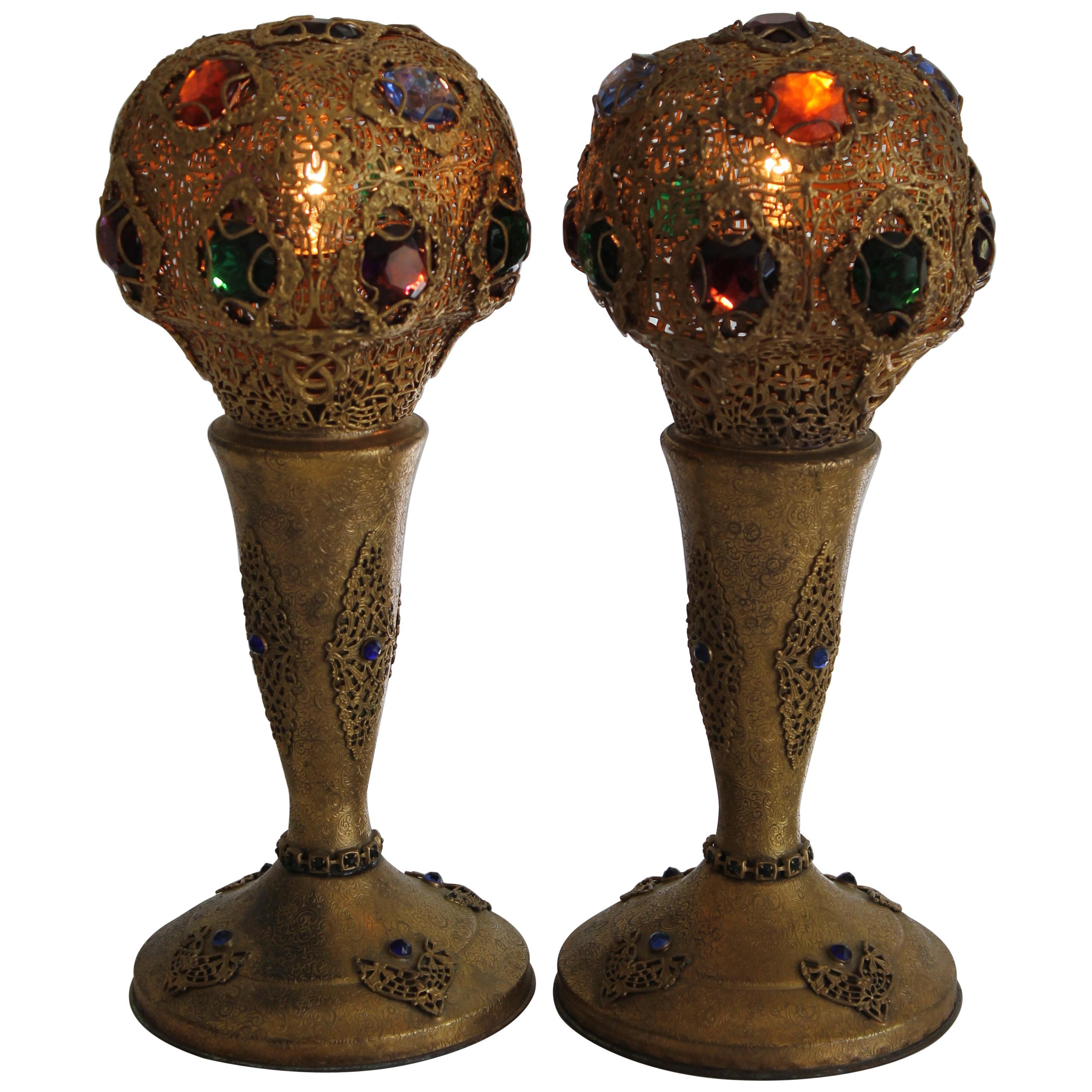 Pair of Art Deco Jeweled Bronze Lamps, Apollo Studios