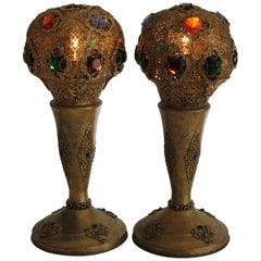 Pair of Art Deco Jeweled Bronze Lamps, Apollo Studios