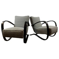 Pair of Art Deco Jindrich Halabala Lounge Armchairs Model H269, Czech, 1940s