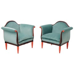 Pair of Art Deco Lacquered Turquoise Green Velvet French Bergeres by Paul Follot