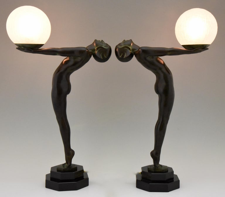 French Pair of Art Deco Style Lamps Lumina Standing Nude Sculpture Max Le Verrier For Sale