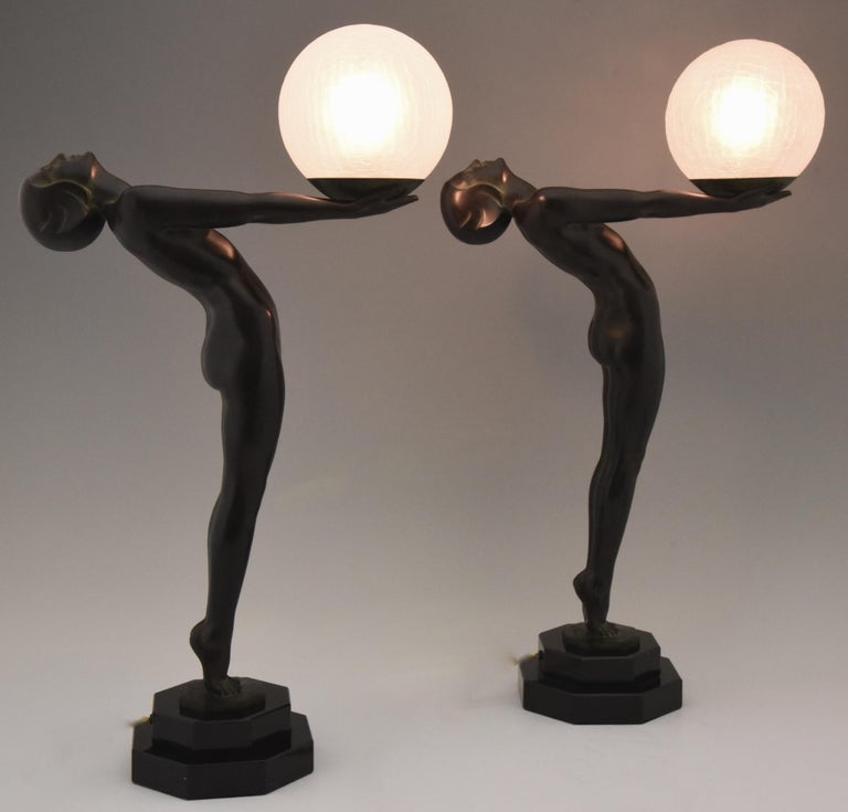 Pair of Art Deco Style Lamps Lumina Standing Nude Sculpture Max Le Verrier In Excellent Condition For Sale In Antwerp, BE