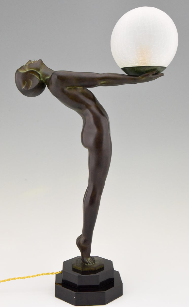 Pair of Art Deco Style Lamps Lumina Standing Nude Sculpture Max Le Verrier For Sale 4