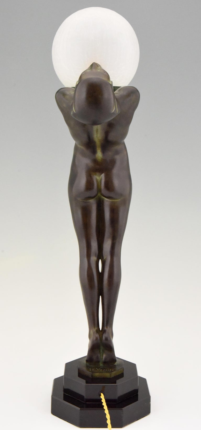 Pair of Art Deco Style Lamps Lumina Standing Nude Sculpture Max Le Verrier For Sale 5