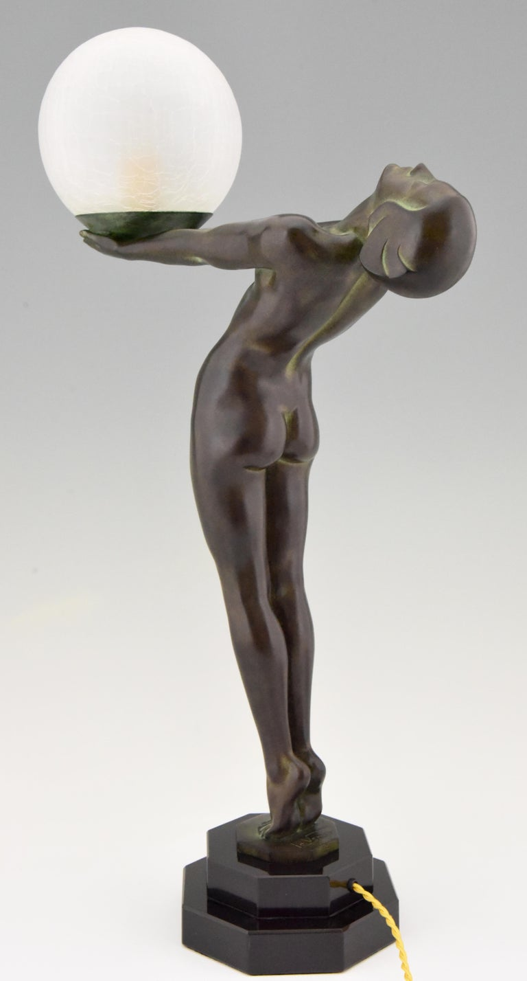 Pair of Art Deco Style Lamps Lumina Standing Nude Sculpture Max Le Verrier For Sale 6