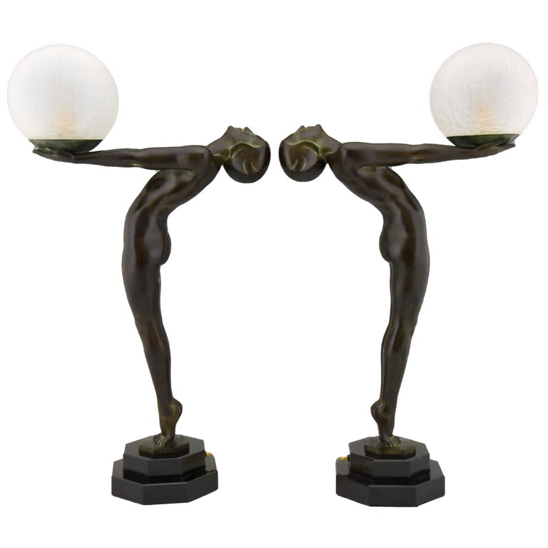 Pair of Art Deco Style Lamps Lumina Standing Nude Sculpture Max Le Verrier For Sale
