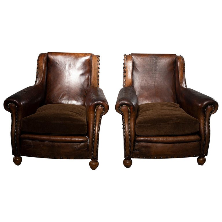 pair of art deco leather chairs with alpaca velvet seats for sale at 1stdibs. Black Bedroom Furniture Sets. Home Design Ideas