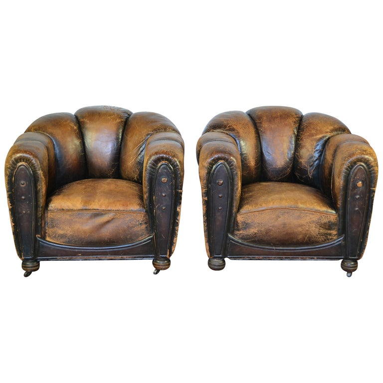 Paar Art Deco Leder Clubsessel Sessel Muschelruckenlehne Alte