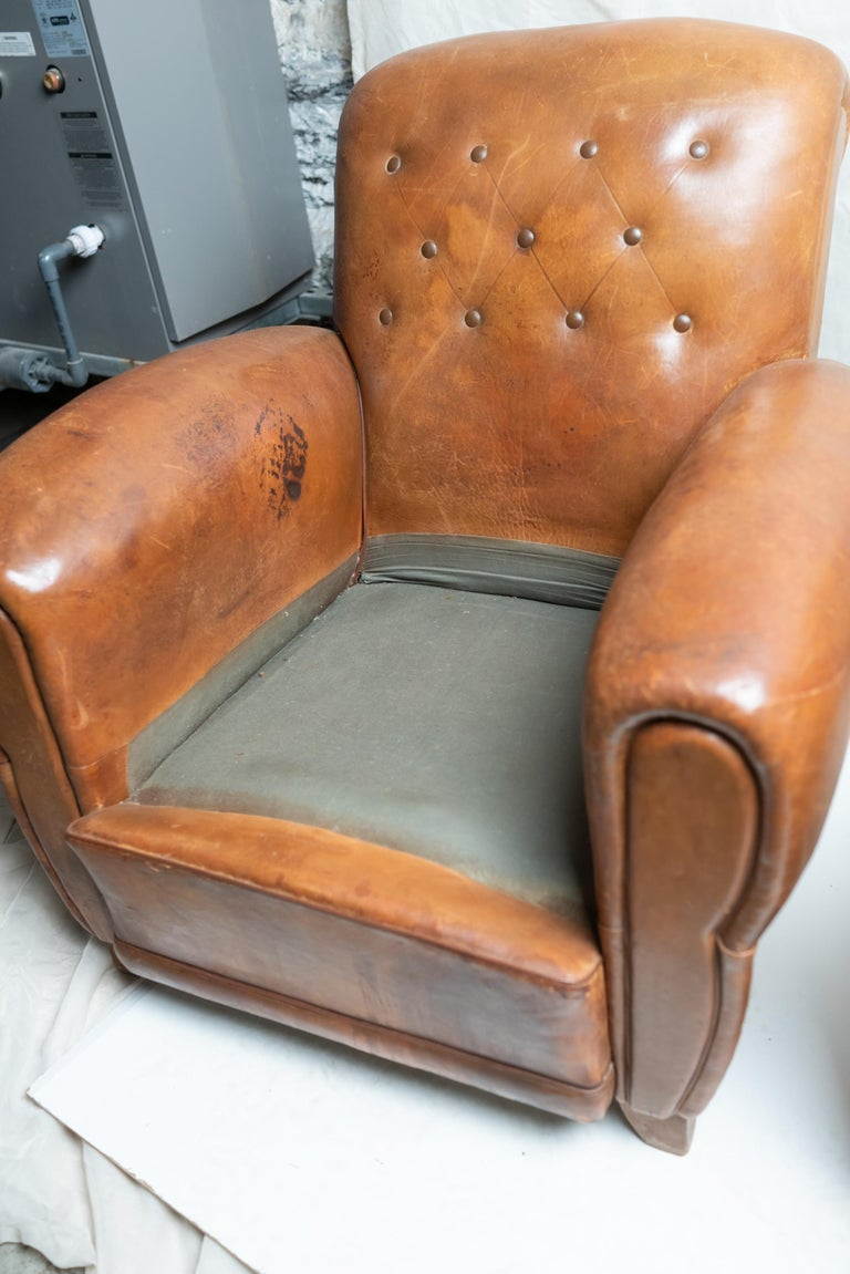 Pair of Art Deco Leather Club Chairs For Sale 8