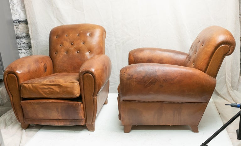 Pair of Art Deco Leather Club Chairs For Sale 9