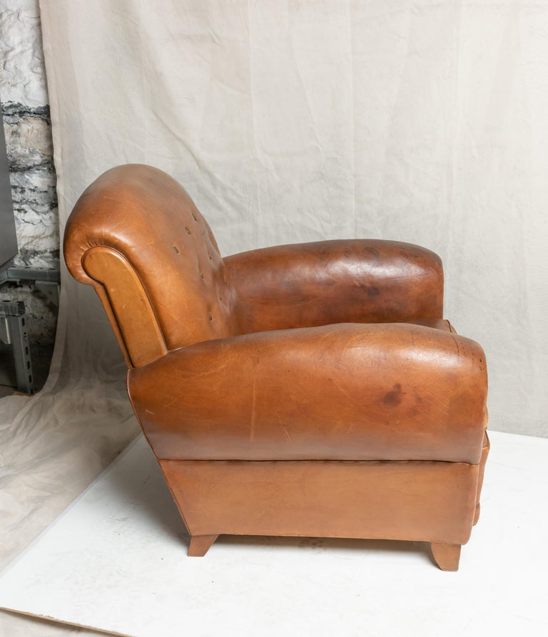 Pair of Art Deco Leather Club Chairs For Sale 10
