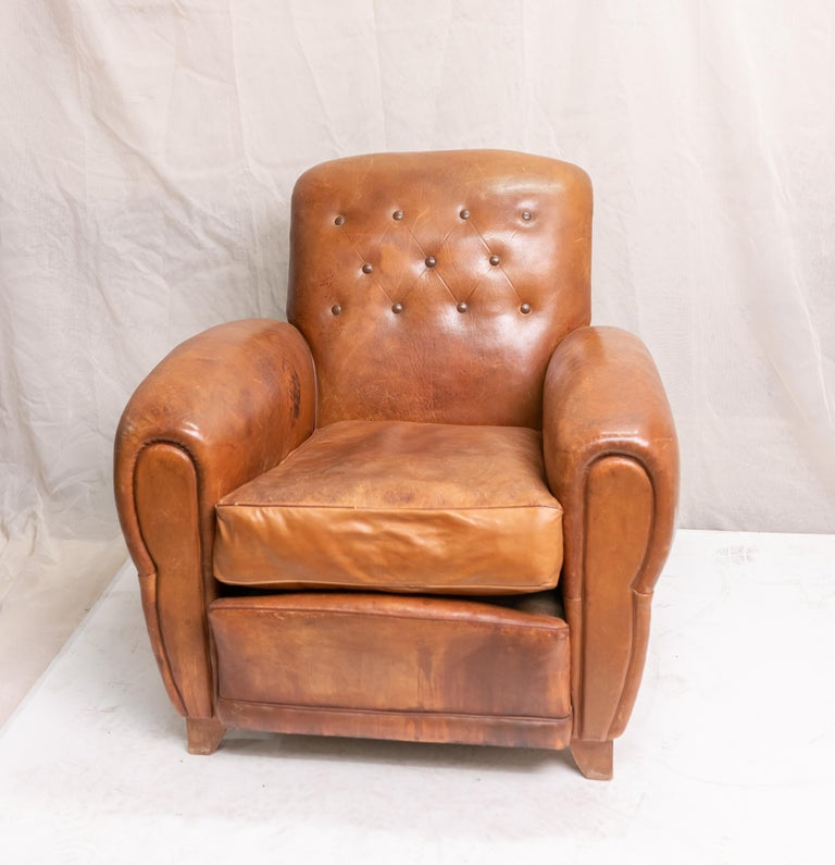Pair of Art Deco Leather Club Chairs For Sale 11