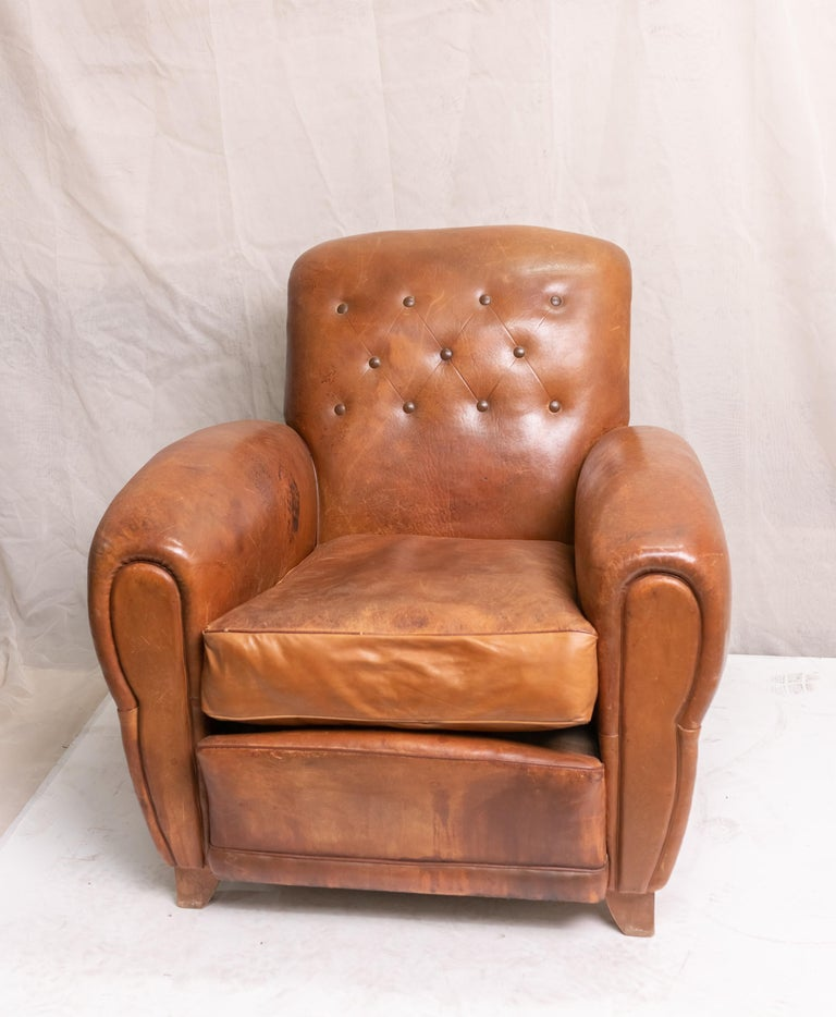 Pair of Art Deco Leather Club Chairs For Sale 12