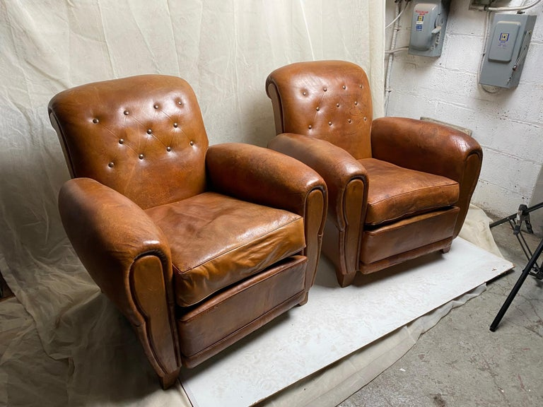 French Pair of Art Deco Leather Club Chairs For Sale