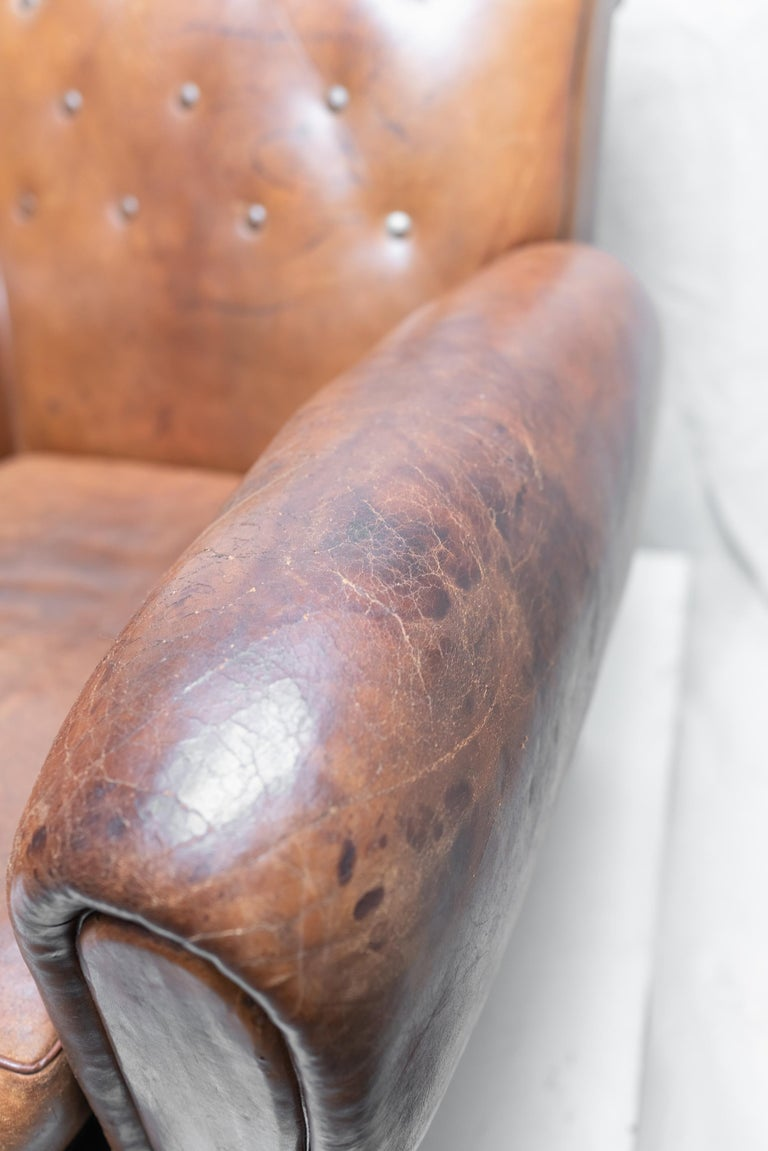 Pair of Art Deco Leather Club Chairs For Sale 3
