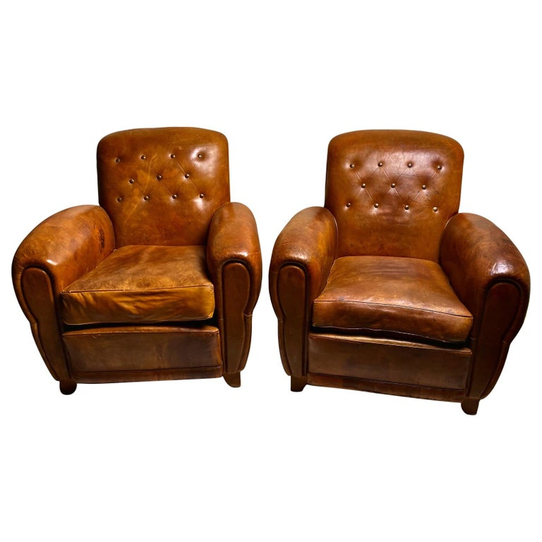 Pair of Art Deco Leather Club Chairs For Sale