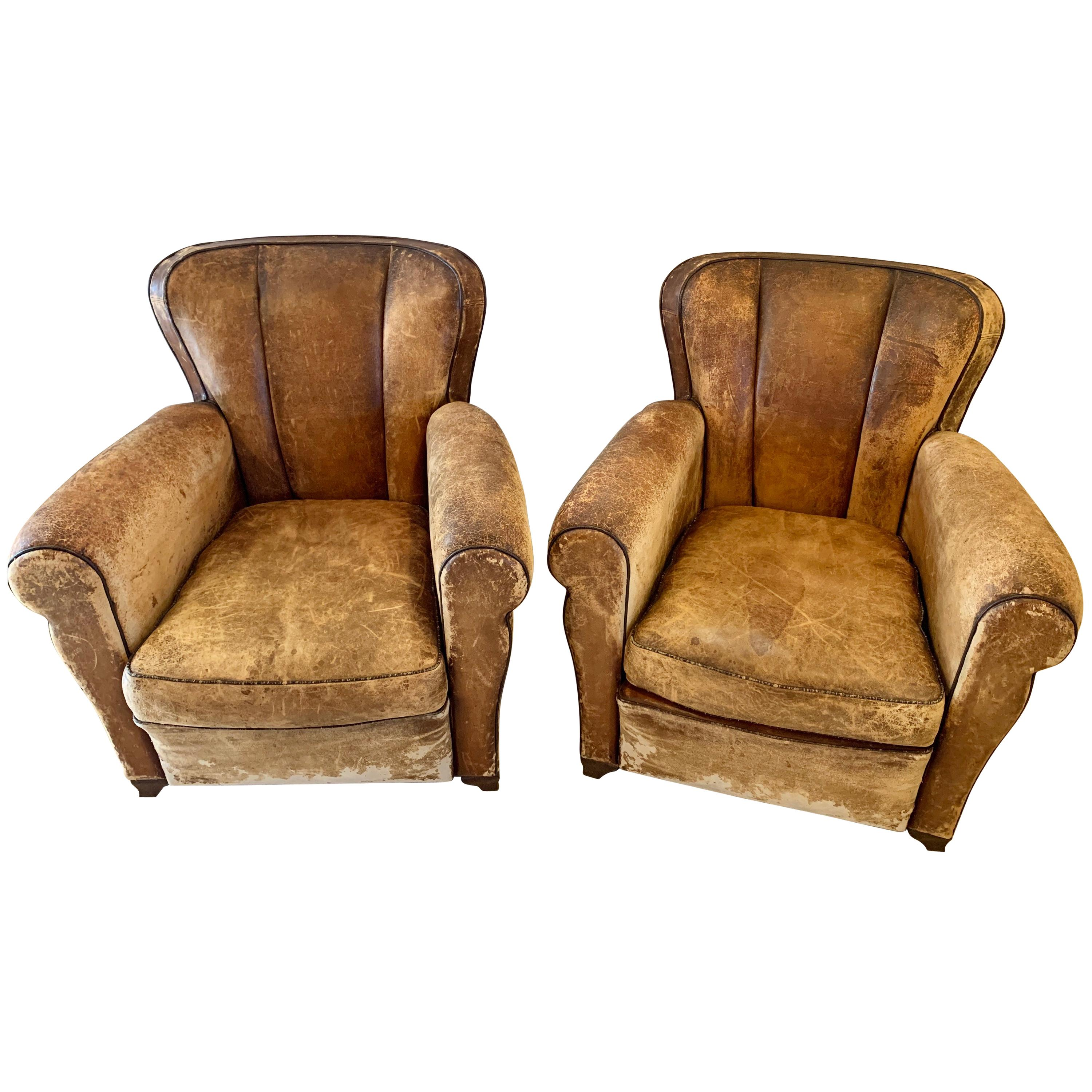 Pair of Art Deco Leather Lounge or Club Chairs, circa 1940s