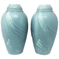 Pair of Art Deco Light Blue Vases in Ceramic, 1930s