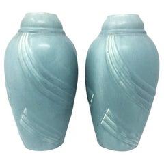 Pair of Art Deco Light Blue Vases in Ceramic, 1930s