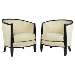 Pair of Art Deco Lounge Armchairs by Paul Follot