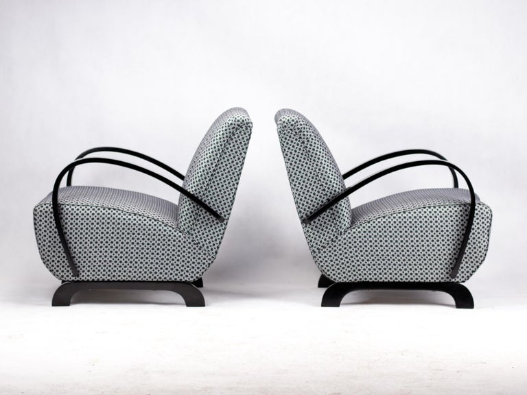 Czech Pair of Art Deco Lounge Chairs by Jindrich Halabala for UP Zavody Brno, 1930s For Sale