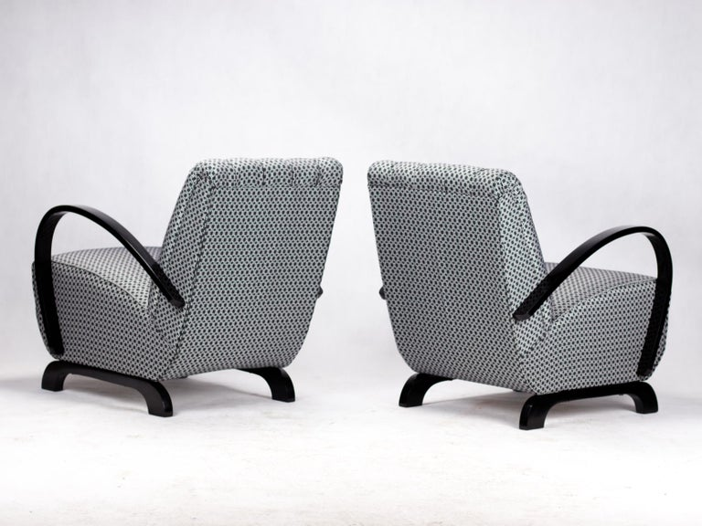 Pair of Art Deco Lounge Chairs by Jindrich Halabala for UP Zavody Brno, 1930s In Good Condition For Sale In Lucenec, SK