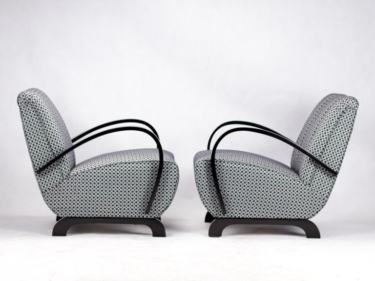 Fabric Pair of Art Deco Lounge Chairs by Jindrich Halabala for UP Zavody Brno, 1930s For Sale