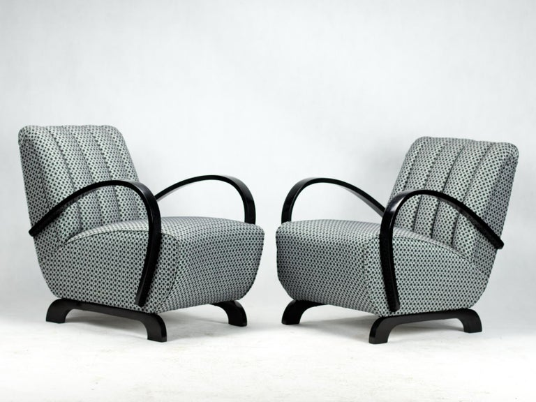 Pair of Art Deco Lounge Chairs by Jindrich Halabala for UP Zavody Brno, 1930s For Sale 1