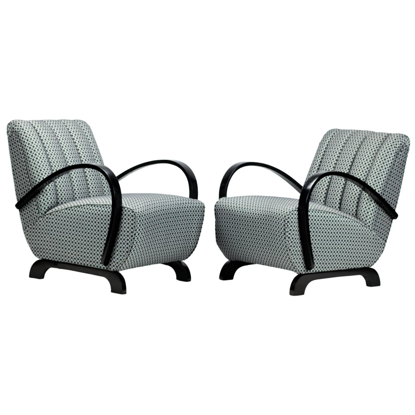 Pair of Art Deco Lounge Chairs by Jindrich Halabala for UP Zavody Brno, 1930s