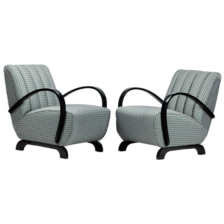 Pair of Art Deco Lounge Chairs by Jindrich Halabala for UP Zavody Brno, 1930s For Sale