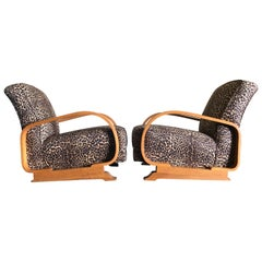 Pair of Bowman Brothers Bentwood Lounge Chairs London, 1930's