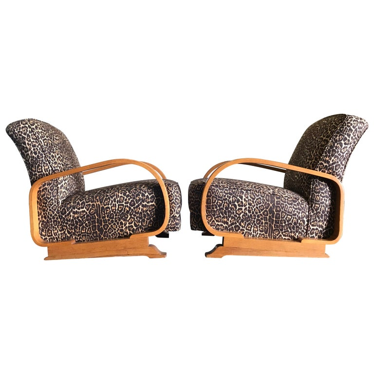 Pair of Art Deco Lounge Chairs For Sale