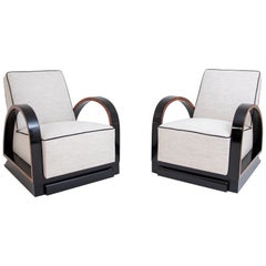 Pair of Art Deco Lounge Chairs, France, 1920s