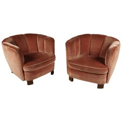Pair of Art Deco Lounge Chairs from Denmark, circa 1950