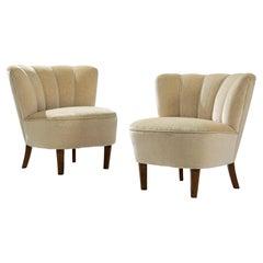 Pair of Art Deco Lounge Chairs in Beige Velvet Upholstery
