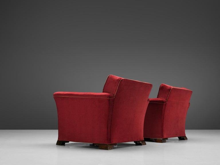 Danish Pair of Art Deco Lounge Chairs in Red Velours For Sale