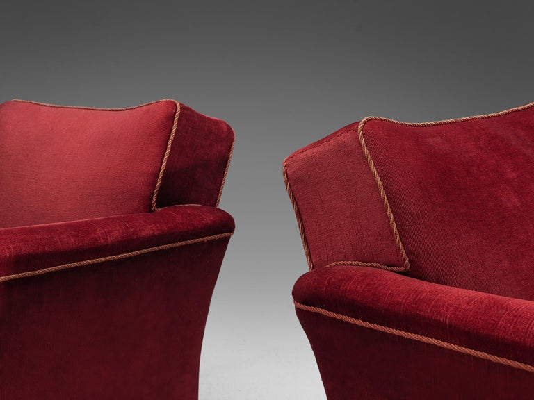Velvet Pair of Art Deco Lounge Chairs in Red Velours For Sale