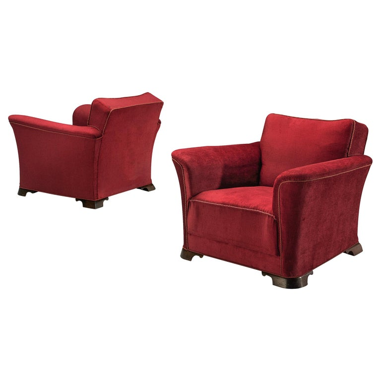 Pair of Art Deco Lounge Chairs in Red Velours For Sale