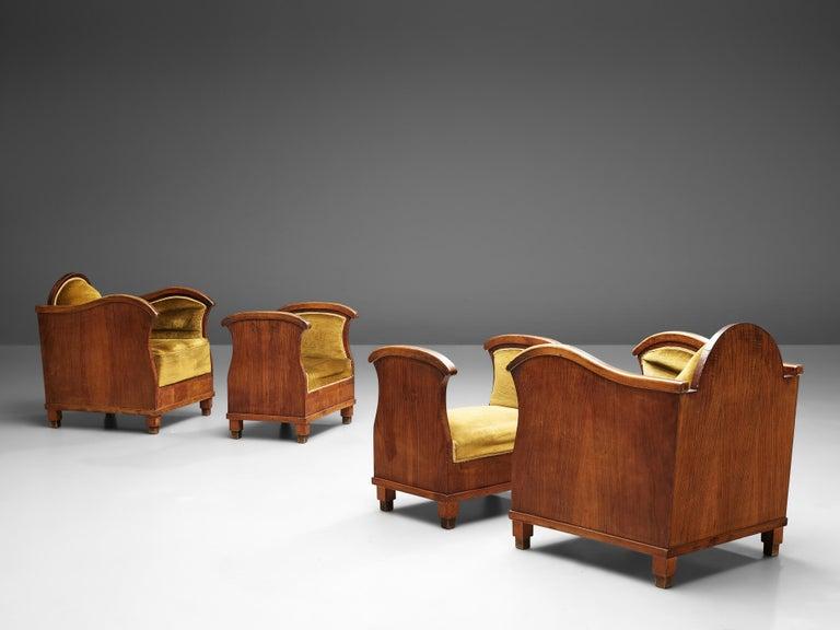 European Pair of Art Deco Lounge Chairs in Velvet Upholstery For Sale