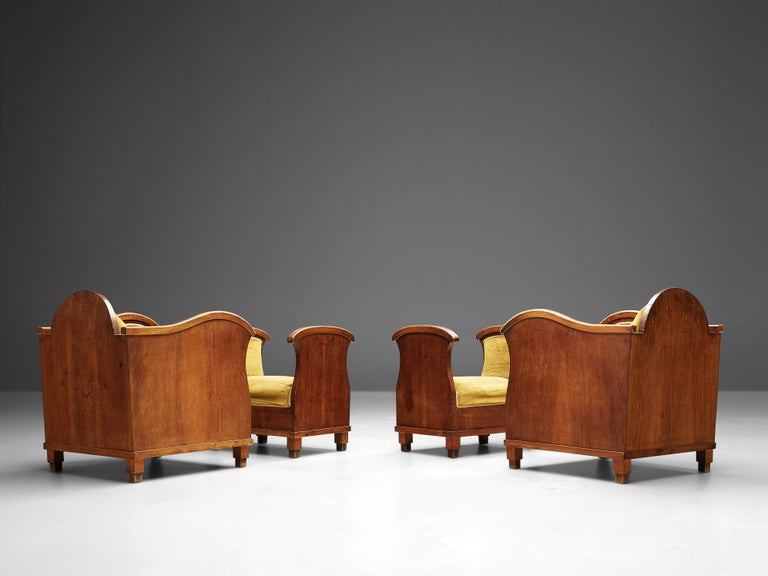 Pair of Art Deco Lounge Chairs in Velvet Upholstery For Sale 1