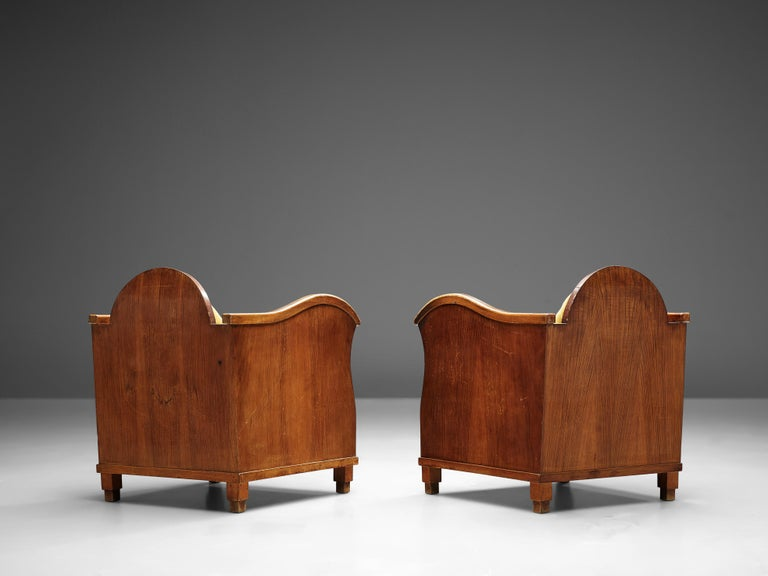 Pair of Art Deco Lounge Chairs in Velvet Upholstery For Sale 3